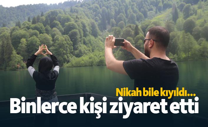 Karadeniz'deki gölü bayramda binlerce kişi ziyaret etti