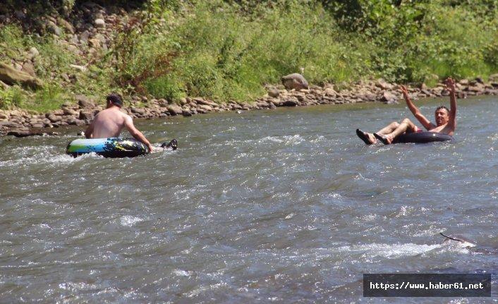 Giresun'da şambrel rafting heyecanı