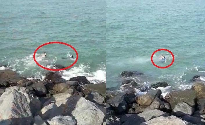 Kayalıklardan denize düştü, vatandaşlar kurtardı | Samsun haberleri