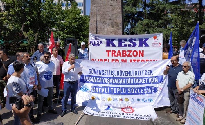Ankara'ya yürüyen KESK'ten Trabzon'da basın açıklaması