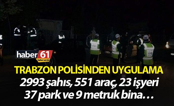 Trabzon polisinden uygulama - 2993 şahıs, 551 araç, 23 işyeri, 37 park ve 9 metruk bina…