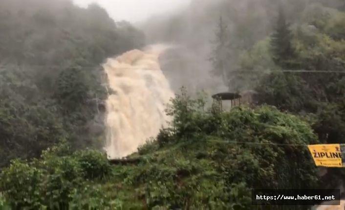 Rize'de yağmur sonrası şelale taştı!