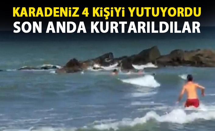 Karadeniz'de boğulmak üzereyken kurtarıldılar