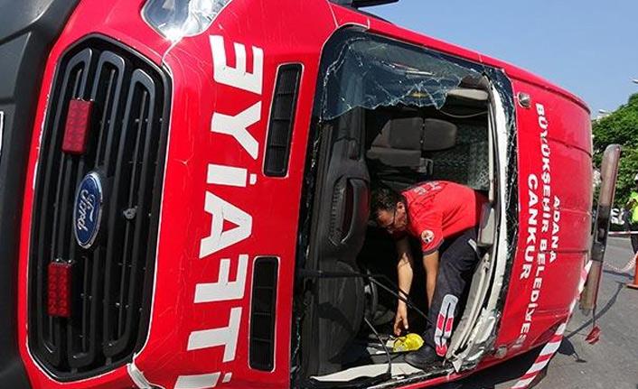 Kazaya giden itfaiye ekibi kaza yaptı!