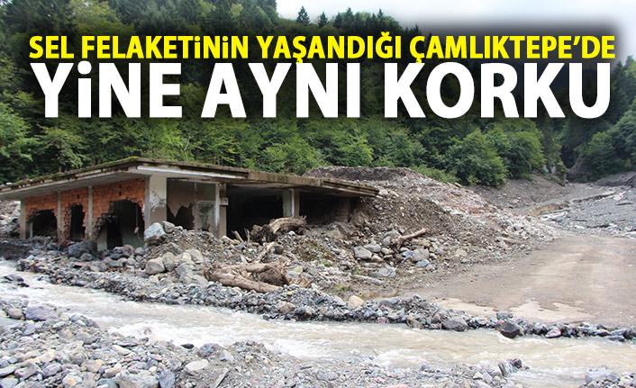 Trabzon'da sel felaketinin yaşandığı Çamlıktepe yine aynı korkuyu yaşadı!