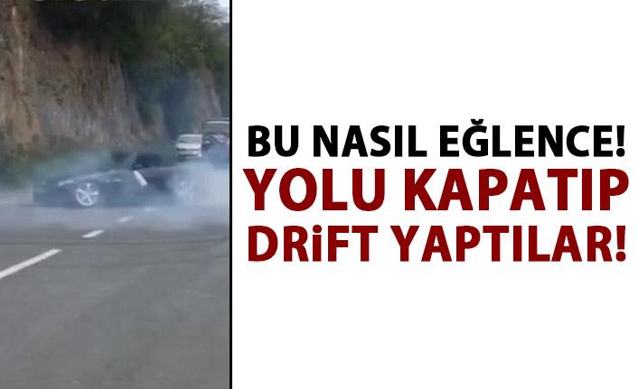 Trabzon'da Lüks otomobillerle yolu kapatıp drift yaptılar!