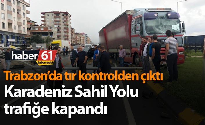 Trabzon'da Tır kontrolden çıktı - Yol trafiğe kapandı