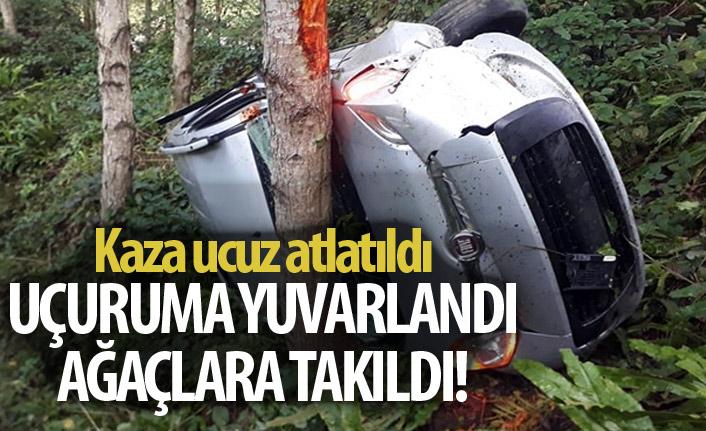 Trabzon'da trafik kazası! Uçuruma yuvarlandı!
