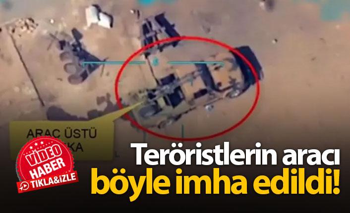 Teröristlerin aracı böyle imha edildi