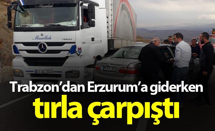 Trabzon istikametinden Erzurum'a giderken tır ile çarpıştı