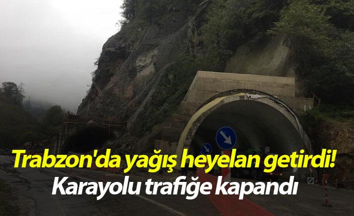 Trabzon'da yağış heyelan getirdi! Karayolu trafiğe kapandı