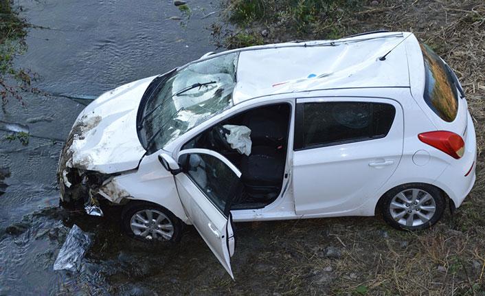 Otomobil dereye düştü 2 yaralı