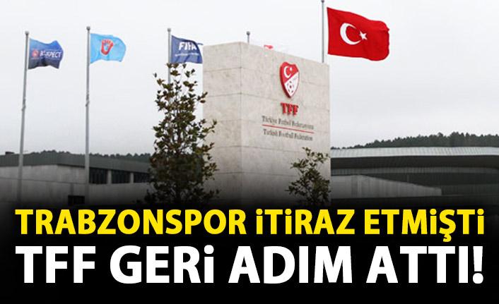 Son Dakika! Trabzonspor itiraz etmişti TFF geri adım attı