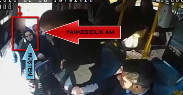 Otobüs bekleyen kadının cep telefonunun çalınma anı kamerada
