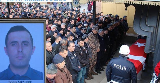 Kalp krizi geçiren polis memuru son yolculuğuna uğurlandı
