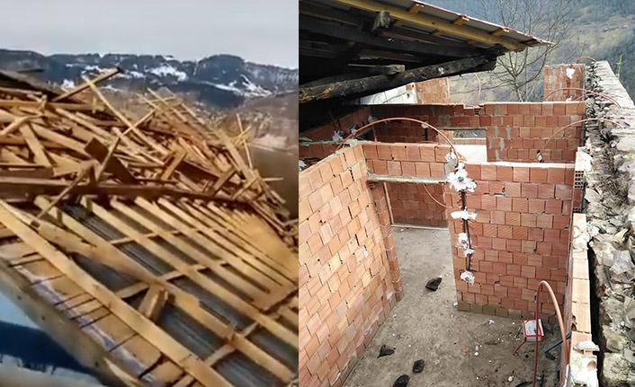 Trabzon'u fırtına vurdu çatılar uçtu