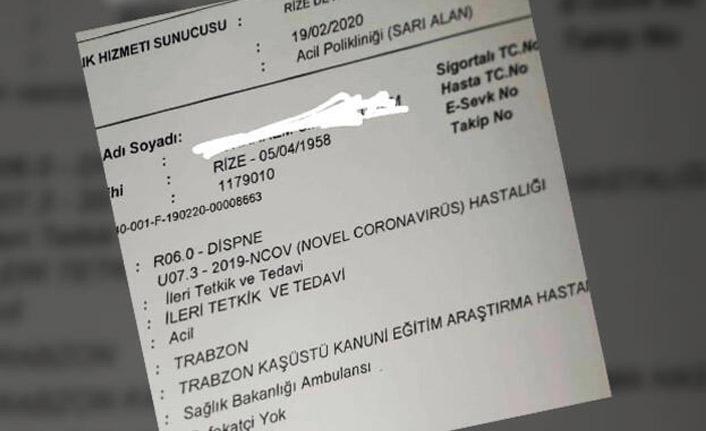 Rize'deki koronavirüs belgesini paylaşan çalışana soruşturma!