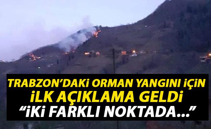 Trabzon'daki orman yangını ile alakalı ilk açıklama geldi