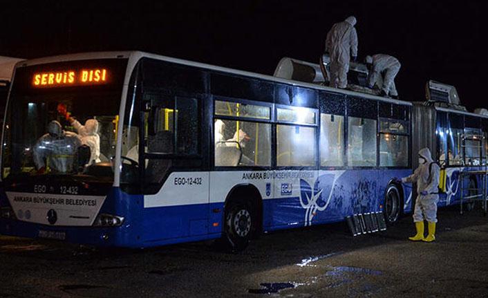 Umreden dönenlerin taşındığı otobüsler, dezenfekte edildi