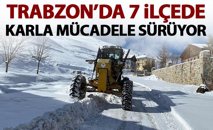 Trabzon'da 7 ilçede karla mücadele