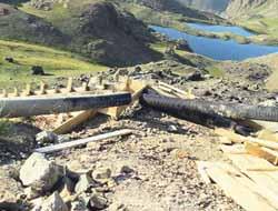 Yedigöller'de ki merdivenler yıkıldı