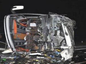 Yolcu otobüsü takla attı ölü ve yaralılar var