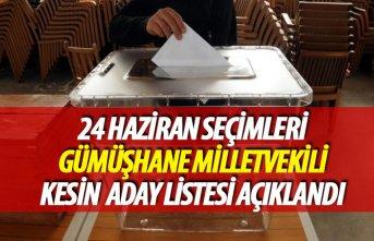 24 Haziran 2018 seçimi Gümüşhane milletvekili...