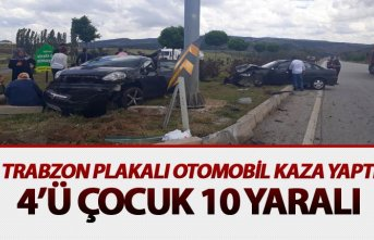 Trabzon plakalı araç kaza yaptı - 4'ü çocuk...