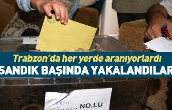 Trabzon'da aranan şüpheliler sandık başında...