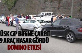 Lüks cip kaza yaptı 9 araç hasar gördü