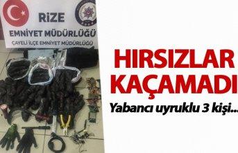 Rize'de kablo hırsızı 3 kişi yakalandı