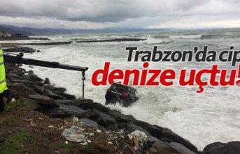 Trabzon'da cip denize uçtu