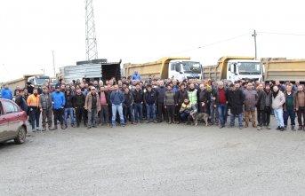 Rize - Artvin Havaalanı inşaatında çalışan işçiler...
