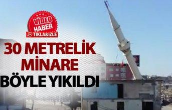 Trabzon'da 30 metrelik minare böyle yıkıldı