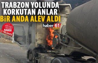Trabzon yolunda korkutan yangın! Bir anda alev aldı!