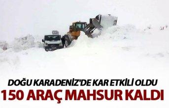 Doğu Karadeniz'de Kar etkili oldu - 150 araç mahsur kaldı