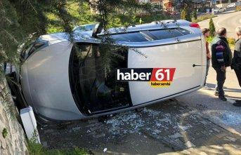 Trabzon'da kaza! Kaldırıma çıkıp duvara vurdu