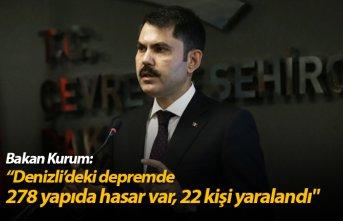 """Bakan Kurum: """" 278 yapıda hasar var, 22 kişi..."""