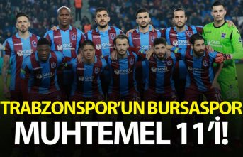 Trabzonspor'un Bursaspor muhtemel 11'i!