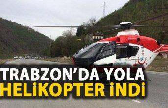 Helikopter yaralı için karayoluna indi
