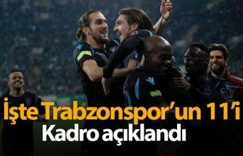İşte Trabzonspor'un Malatya 11'i