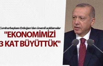 """Cumhurbaşkanı Erdoğan: """"Ekonomimizi 3 kat..."""