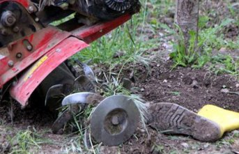 Evinin bahçesine çapa yaparken...