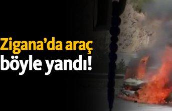 Zigana'da araç böyle yandı!