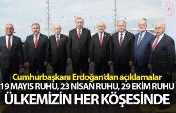 Cumhurbaşkanı Erdoğan: 19 Mayıs ruhu, 23 Nisan ruhu, 29 Ekim ruhu ülkemizin her köşesinde