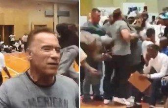 Schwarzenegger'e tekmeli saldırı