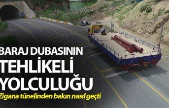 Trabzon'da baraj dubasının tehlikeli yolculuğu