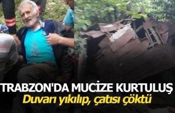 Trabzon'da mucize kurtuluş: Duvarı yıkılıp,...