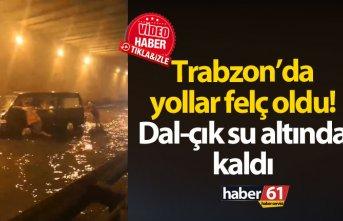 Trabzon'da yağmur yolları felç etti