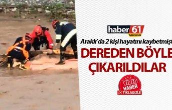 Araklı'da hayatını kaybeden 2 kişi böyle çıkarıldı